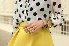 Polka dots and a bright skirt!