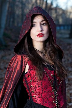 Red riding hood - would make a beautiful costume...I prefer the long cloak, not the skimpy shorter skirt version