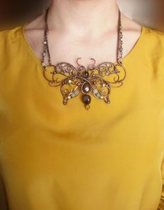 Wire Wrapped Butterfly Necklace Copper by ChervoniKoraliArt