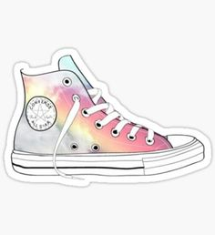 pastel rainbow Converse high tops Sticker