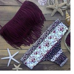 Fringed floral printed bikini Get ready for summer with this super cute bikini! The top is padded and wire free.  It seems to run small so this large is more like a medium. Swim Bikinis
