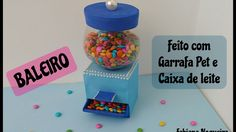 BALEIRO de Garrafa Pet / Faça Você Mesmo Sua Candy Machine / ( Saí bala ...