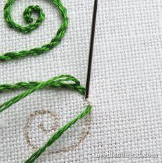 Stem Stitch Curls and Spirals