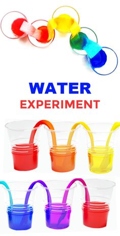 Walking Water Experiment Make water walk with this easy and fun science experiment! Kids will be in awe as a water rainbow forms right before their eyes! Water Experiments For Kids, Science For Toddlers, Science Crafts, Science Fair Projects, Preschool Science, Science For Kids, Science Activities, Preschool Learning, Activities For Kids