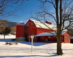 Red Barn in Winter - Arlington, Vermont