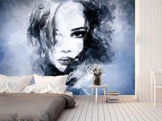 Fototapeta na ścianę w odcieniach kobaltu - hipnotyzujący portret, który polecamy zwłaszcza na ścianę do sypialni!