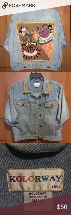 Vintage Denim Jacket This one is for all the coffee lovers!! Turn heads at Starbucks with this vintage denim jacket ☕️ the light blue denim is timeless!! The sleeves are cropped. The size is small but fits like a medium. Made in the USA  with 100% cotton. Amazing quality denim and is in perfect condition. Price is negotiable  make an offer! KOLORWAY  Jackets & Coats Jean Jackets