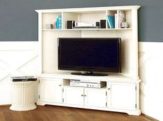 Armoire tv cabinet corner tv cabinets for flat screens with doors woodworki Corner Media Cabinet, Corner Tv Cabinets, Wall Cabinets, Corner Tv Stands, Corner Tv Unit, Corner Wall, Small Corner, Corner Shelves, Corner Storage