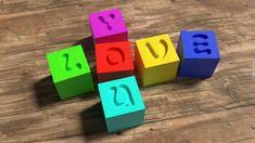 Kolorowe, Klocki, Dla dzieci, Napis, Love You, Deski