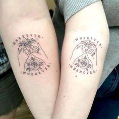 Friend Tattoos Small, Cute Best Friend Tattoos, Matching Best Friend Tattoos, Tattoo Friends, Twin Tattoos, Sibling Tattoos, Twin Sister Tattoos, Quote Tattoos, Couple Tattoos