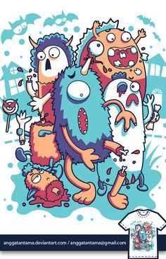 Monster mash Graphic Design Illustration by Angga Tantama Cartoon Monsters, Cute Monsters, Cartoon Art, Monster Illustration, Cute Illustration, Graphic Design Illustration, Doodle Monster, Monster Art, Doodle Art Drawing