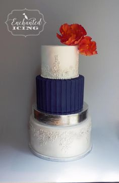 pleated wedding cake by Enchanted Icing - http://cakesdecor.com/cakes/209585-pleated-wedding-cake