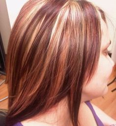 Red and blonde highlights.