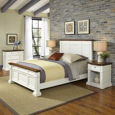 Home Styles Americana Queen Bed, Two Night Stands, and Chest, White