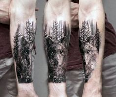 Wolf With Trees Mens Inner Forearm Tattoos