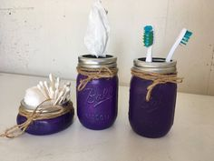 Tissue dispenser, toothbrush holder/flower vase, cotton/q-tip holder. Purple in color. Mason Jar Bathroom, Bathroom Sets, Mason Jars, Q Tip Holder, Flower Vases, Toothbrush Holder, Rustic Decor, My Etsy Shop, Purple