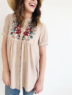 Floral Embroidered Shirt with Buttons | ROOLEE