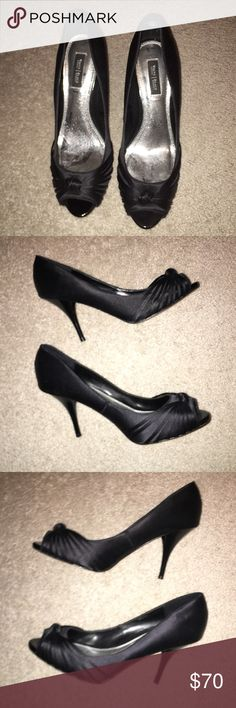 Black satin heels Great condition barely worn! Super cute on! White House Black Market Shoes Heels