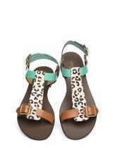 Nadalini Green Flat Day Sandals Moda in pelle