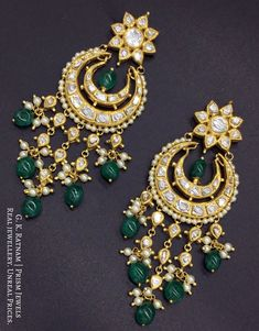 Glamorise yourself with these finely handcrafted all-polki chand balas set in 18 karat hallmarked gold. With their intricate detailing along with the shell pearls, these earrings are a delight for the eyes - both, yours & others. Chand Bali Earrings Gold, Indian Jewelry Earrings, Indian Jewelry Sets, Jewelry Design Earrings, Gold Earrings Designs, Beaded Jewelry, Antique Jewellery Designs, Fancy Jewellery, Gold Jewellery Design
