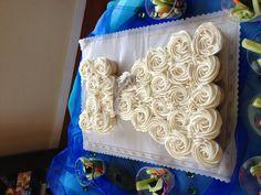 Bridal shower cupcake cake. Peacock inspired.