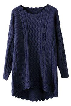 Cut-out Crochet Wave Trimmings Blue Jumper