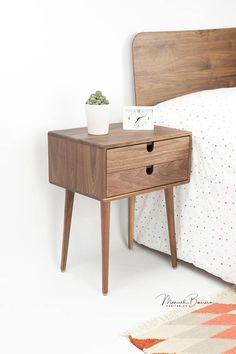 So stylish in its simplicity. It features tapered legs and one/two stacked drawer(s) or one drawer and one shelf, with carved round-outs for a sleek, hardware-less look. Handcrafted from solid wood with stunning grains, this piece features beautiful craftsmanship and superior joinery to