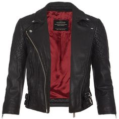 AllSaints Cropped Voxon Leather Jacket ($498) ❤ liked on Polyvore
