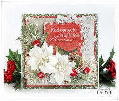card christmas poinsettia sizzix tattered poinsettia 2 Kartki Świąteczne i Kurs Video / 2 Christmas Cards and Video Tutorial