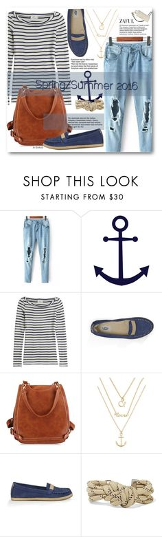 """Untitled #1029"" by beebeely-look ❤ liked on Polyvore featuring Closed, UGG Australia, Isabel Marant, springsummer, rippedjeans, striped, ugg and zaful"