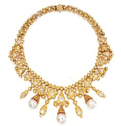 AN 18 KARAT GOLD, CULTURED PEARL AND DIAMOND NECKLACE, VAN CLEEF & ARPELS,  1972, AND CARTIER,  designed in the Mughal style, the necklace set throughout with numerous round, old European-cut and old mine diamonds weighing approximately 22.50 carats, suspending 3 detachable cultured pearl drops graduating in size from approximately 14.0 mm to 13.1 mm, length 14 inches, French maker's marks for Cartier and Van Cleef & Arpels, numbered 38562, French assay marks;