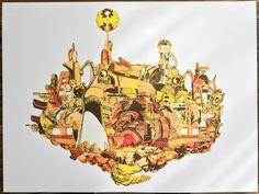 Gold Mega City / Silk Screen Print - By: Morgan Jesse Lappin Print, Print Lab, Original Collage, Artwork, Silk Screen Printing, Collage Artwork, Color, Zelda Characters