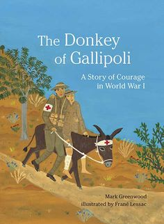#commoncore When Jack Simpson was a boy in England, he loved leading donkeys along the beach for a penny a ride. So when he enlists as a stretcher bearer in World War I, his gentle way with those animals soon leads him to his calling. Braving bullets and bombs on the battlefields of Gallipoli, Jack brings a donkey to the aid of 300 Allied soldiers -- earning both man and donkey a beloved spot in legend. ISBN 9780763639136 Ages 6-9, GRL T
