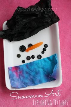 Snowman Art - exploring textures and textiles with kids (happy hooligans)