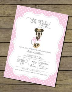 Minnie Mouse Baby Shower Invitation  Girl by CharlesAlexDesign