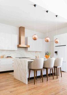 Sonho cozinha Must Haves Open Plan Kitchen Living Room, Kitchen Room Design, Home Room Design, Modern Kitchen Design, Home Decor Kitchen, Interior Design Kitchen, Kitchen Furniture, Home Kitchens, Condo Kitchen