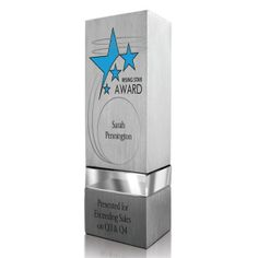 9149229fd6c Recognize star performers with the Tristin award! This triangular shaped  silver aluminum award comes with a clear optical crystal accent.