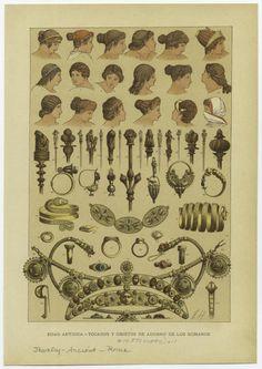 : Edad antigua — tocados y objetos de adorno de los romanos.