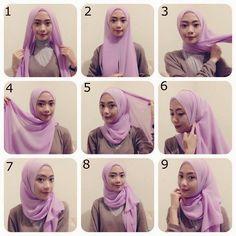 Tutorial Hijab Modern, Square Hijab Tutorial, Hijab Style Tutorial, Muslim Fashion, Islamic Fashion, Women's Fashion, Fashion Outfits, Instant Hijab, Lovely Tutorials