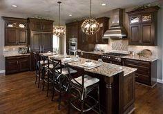 Modern Walnut Kitchen Cabinets Design Ideas – decoratoo – Home Renovation Walnut Kitchen Cabinets, Brown Cabinets, Kitchen Cabinet Design, Wood Cabinets, Kitchens With Dark Cabinets, Espresso Cabinets, Home Decor Kitchen, Home Kitchens, Kitchen Ideas