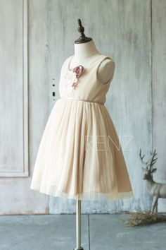 2015 Beige Junior Bridesmaid Dress Square neck Ruched by RenzRags