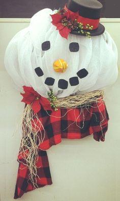 Deco Mesh Snowman Wreath by A.C. Moore, Greensboro, NC #decomesh #wreath