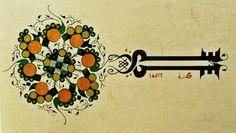 """Mandala: Islamische Arabische heilige Geometrie """"Mein Geheimniss"""" Persische Kalligrafie 20x15cm Mystischer Sufi Talisman, Fraktale Ornamente von IbnRoman auf Etsy"""