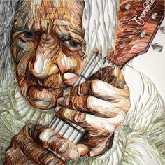 *QUILLING ~ human-face....this piece is absolutely AWESOME! ENLARGE FOR BEST VIEW OF DETAIL ON WORK!  THE ARTIST IS FANTASTIC!