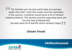 Here's a warm feedback. #AsianHeartInstitute #AHITestimonials