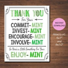Printable Mint Thank You Decor Sign Volunteer Staff Teacher | Etsy