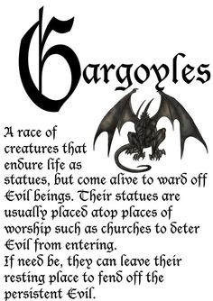 Actually, gargoyles are spouts that are placed to drain water off buildings. The free standing statues most refer to as gargoyles are actually called grotesques. Magical Creatures, Fantasy Creatures, Fairytale Creatures, Mythological Creatures, Angels And Demons, Book Of Shadows, Writing Inspiration, Vampires, Faeries