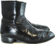 Regency Vtg Men Leather Ankle Boots Size 8D Black.  MMM 32 #Regency