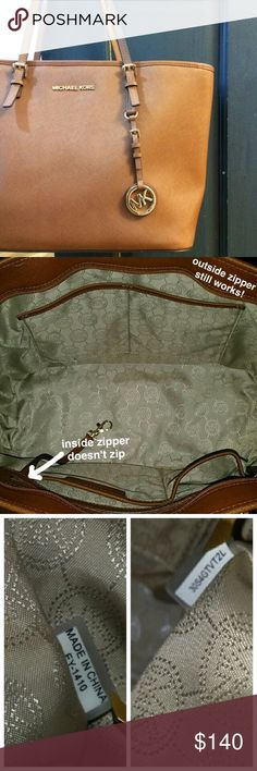 """MK Medium Jet Set Tote: """"Luggage"""" **New, never used.** AUTHENTIC Michael Kors  FLAW SHOWN  (in second pic)  OG everything. $130 or best offer. Bags Totes"""