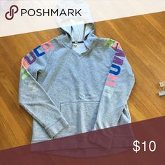 Under Armour sweatshirt. Grey with colored Under Armour on both sleeves. Fixed hood Under Armour Shirts & Tops Sweatshirts & Hoodies